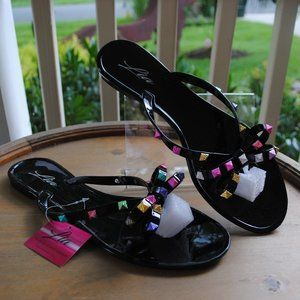 NWT NIB Jelly Sandal BLACK Colorful Adornment BOWS